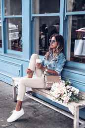 blogger,jacket,shoes,pants,vivaluxury - fashion blog by annabelle fleur: nyfw mini moment,fall outfits,denim jacket,sneakers,beige pants