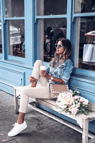 blogger jacket shoes pants vivaluxury - fashion blog by annabelle fleur: nyfw mini moment fall outfits denim jacket sneakers beige pants