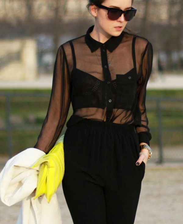 Petra Oversized Sheer Blouse In Black - tops- missguided