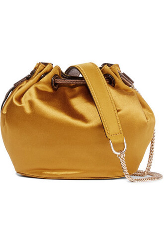 mini love bag bucket bag leather satin mustard