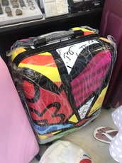 bag,multi-coloured,suitcase,plastic,modern