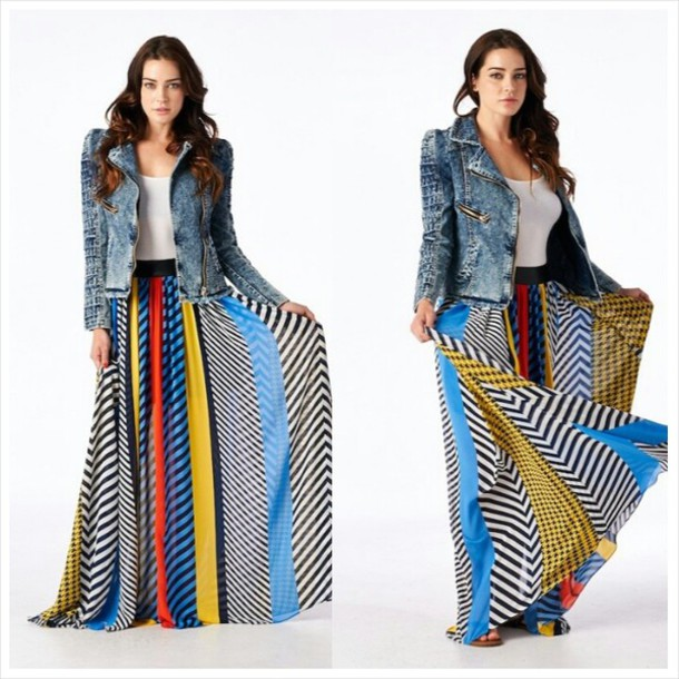 Skirt: bohemian chi, flowy multi color maxi, faux leather ...