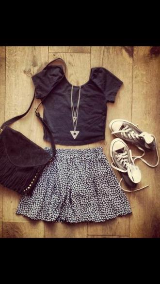 skirt floral skirt converse black t-shirt