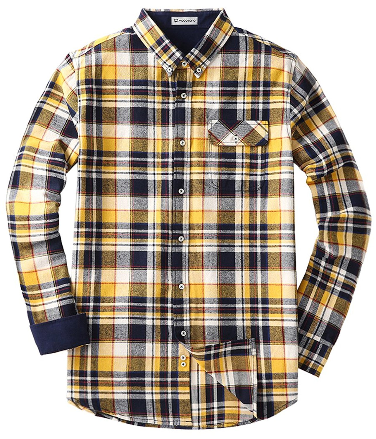 Amazon.com: Men's Long Sleeve Flannel Plaid Dress Shirt Western Button Down Shirts: Clothing