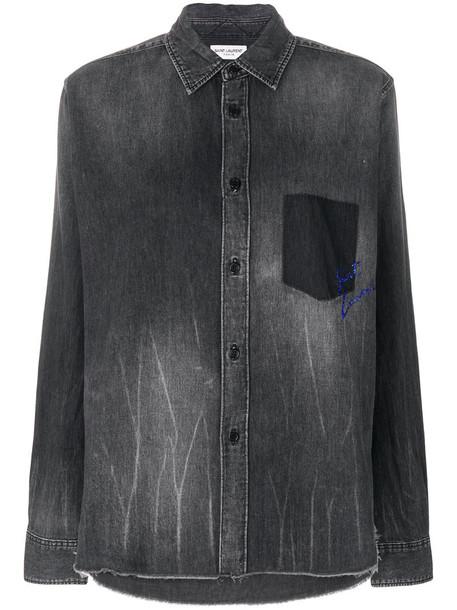 Saint Laurent - denim shirt with logo - women - Cotton - S, Grey, Cotton