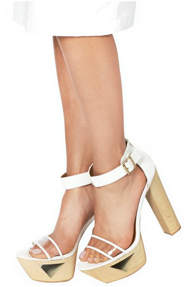 shoes wood heels platform shoes high heels white shoes white heels cut out heels