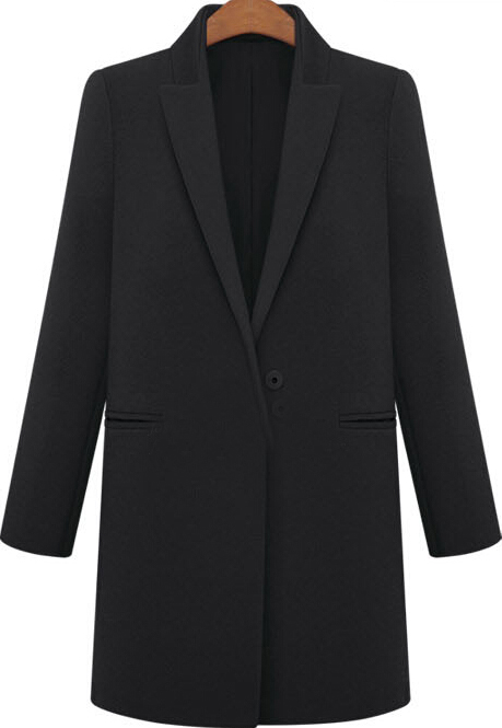 Black Lapel Long Sleeve Pockets Woolen Coat - Sheinside.com