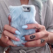 phone cover,fur,iphone 5 case,holiday gift,fluffy,cool,grey,iphone case,iphone 6 case,blue,furry fluffy blue phone case