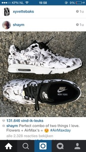 shoes,nike,flowers,black,white,air max,nike air,floral,cute,print,nike air max 90,nike air mx