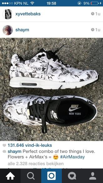 shoes nike flowers black white air max nike air