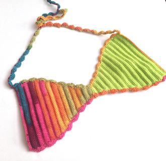 swimwear bikini bikini top festival festival top rainbow multi colored crochet bikini beach summer top halter tops halter bikini green pink 2015 trends 2015 swimwear trends 2015 crochet trends