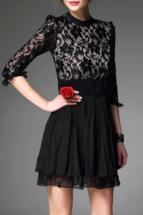 dress dezzal lace dress black dress black vintage girly stylish style casual