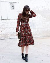 dress,tumblr,red dress,midi dress,long sleeves,long sleeve dress,fall outfits,fall colors,boots,black boots,ankle boots,bag,black bag