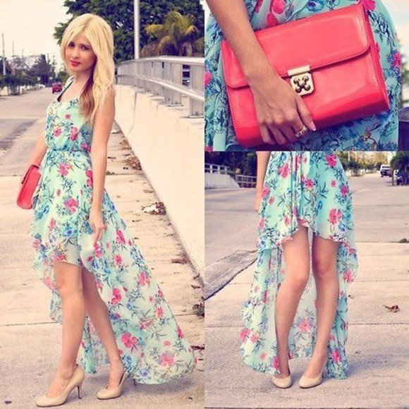 dress turquoise teal dress clothes floral high-low dresses high-low flowers floral dress chiffon chiffon dress clutch hot pink aqua blue
