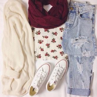 cardigan jeans scarf t-shirt