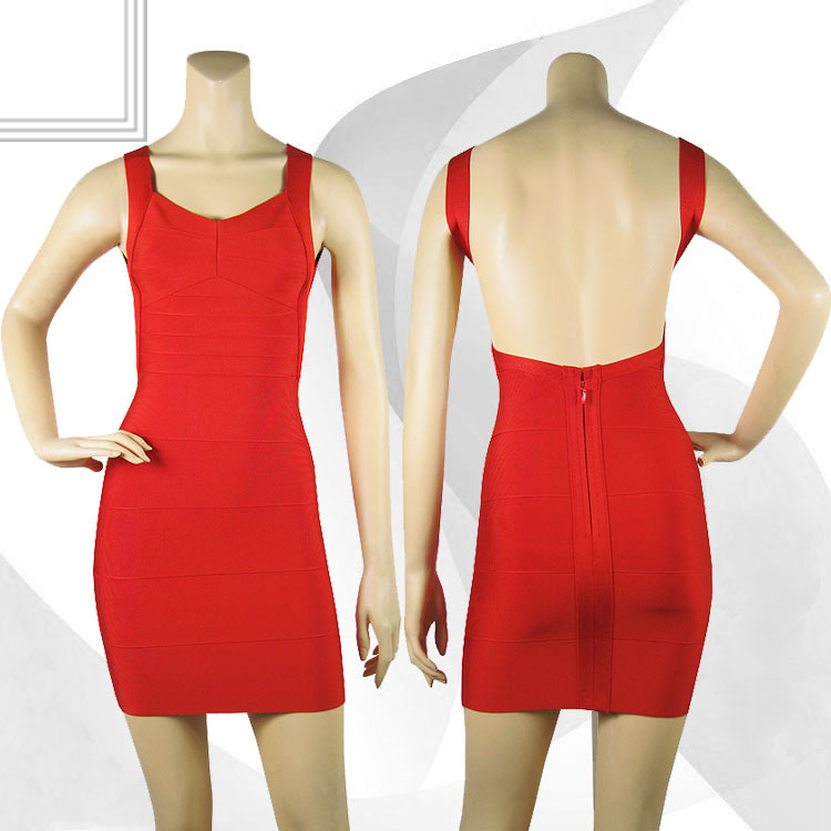 Backless spaghetti strap HL bandage dress sexy night club wear open back ladies elastic yellow v neck party mini dress E HL1113-in Dresses from Apparel & Accessories on Aliexpress.com