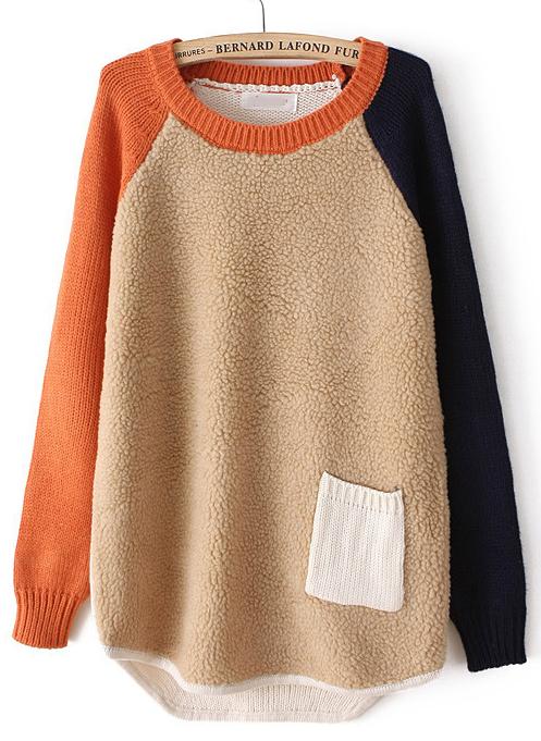 Camel Contrast Long Sleeve Pocket Loose Sweater - Sheinside.com