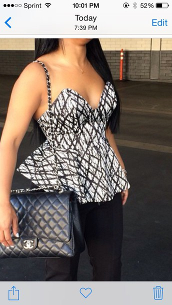 top peplum black white bandeau