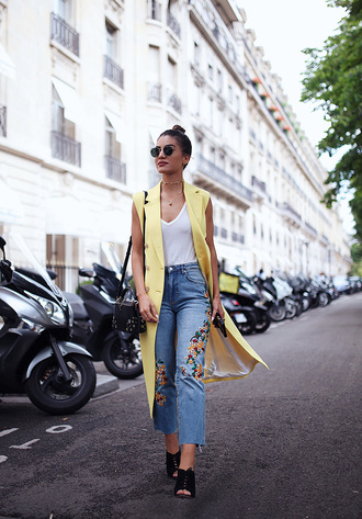 coat tumblr vest top white top denim jeans blue jeans embroidered embroidered jeans embroidered denim mules high heels heels shoes bag