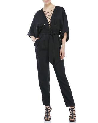 jumpsuit lace up jumpsuit black heels black jumpsuit kimono sleeve caged heels peep toe sandals shoes