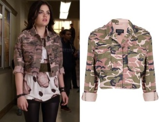 jacket cropped denim jacket camouflage style fashion pretty little liars