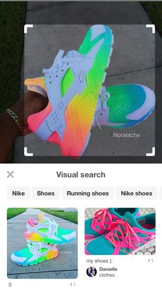 shoes huarache colorful nikes rainbow nike sneakers nike