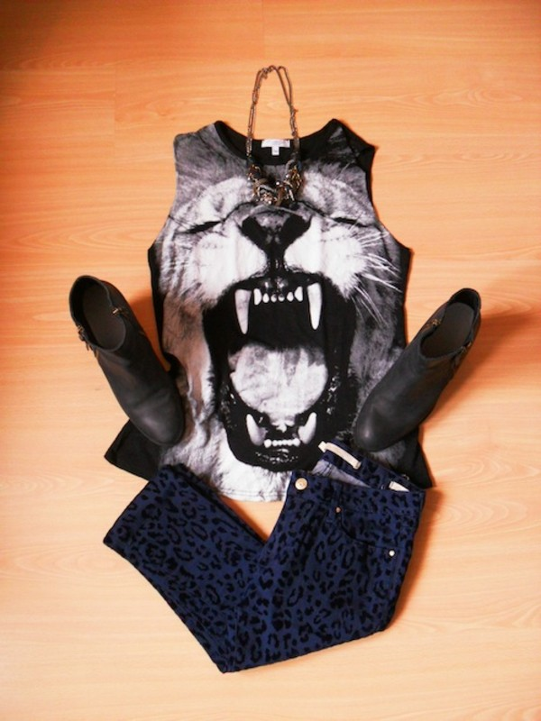 jeans pantherprint collar shirt edgy