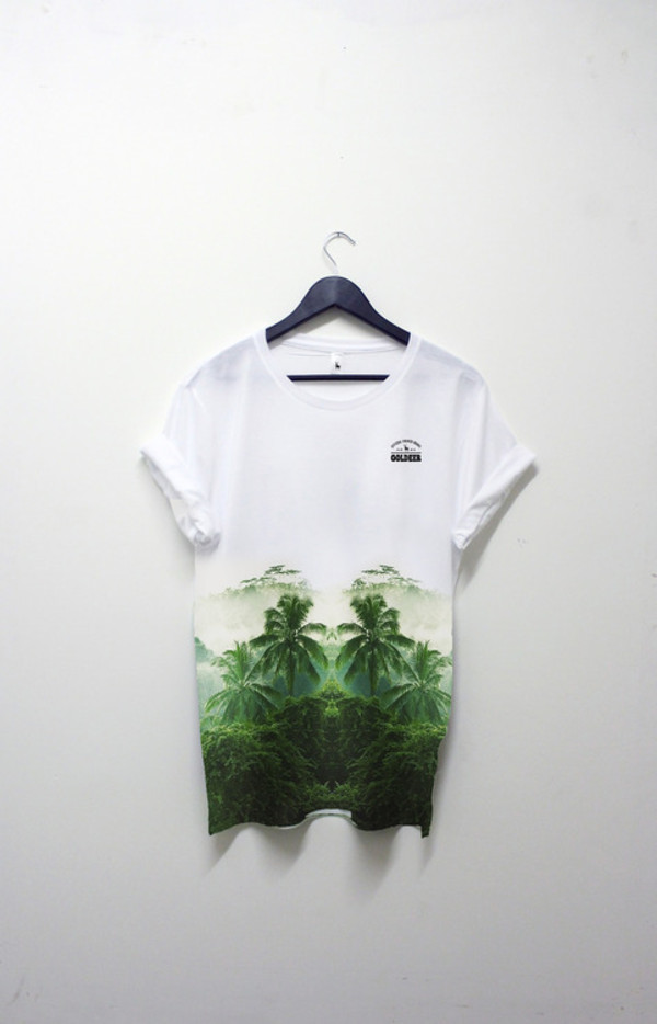 shirt picture tree green t-shirt white oversized oversized shirt t-shirt dress oversized t-shirt palm tree print top topical