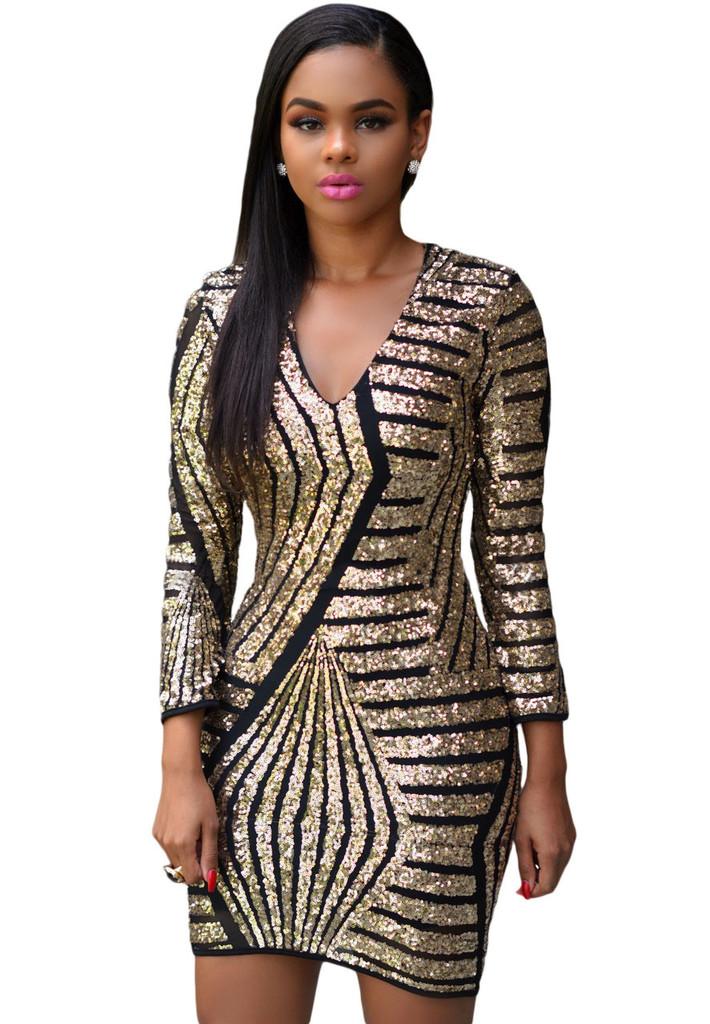 long sleeve gold sequin dress. Black Bedroom Furniture Sets. Home Design Ideas