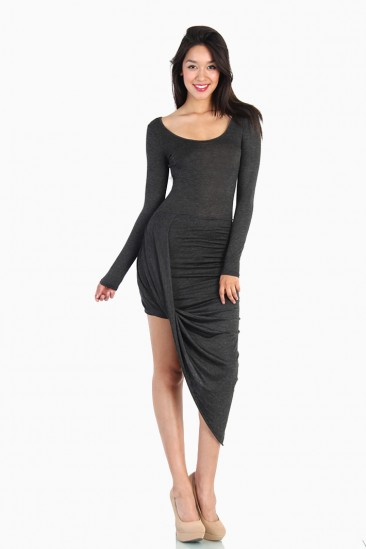 LoveMelrose.com From Harry & Molly | Overlapped Draped Midi Dress - Gray