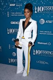pants,janelle monae,blazer,suit,tuxedo,white,black and white,red carpet,celebrity,celebrity style,celebstyle for less