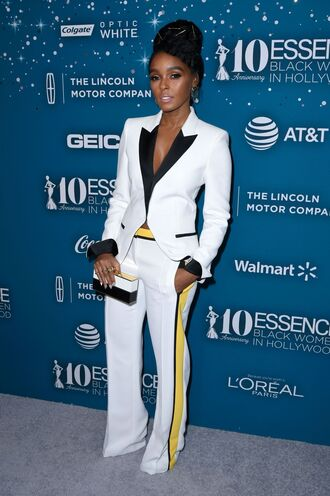 pants janelle monae blazer suit tuxedo white black and white red carpet celebrity celebrity style celebstyle for less