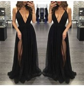 dress,black,slit dress,plunge v neck,maxi dress,black dress,long prom dress,prom dress,black prom dress,chamring,evening party dress,deep v neck sexy dress,black dress prom long,long dress,cute,cute dress,fashion,prom,pretty,low cut dress,sleeveless dress,gown,cleavage,sexy,lowprice,black homecoming dresses,open back homecoming dresses,sleeveless homecoming dresses,tulle homecoming dresses,floor length homecoming dresses,deep v neck homecoming dresses,split homecoming dress,sexy v-neck dress,thigh slit dress,v neck dress