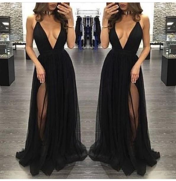 55c828fc7fc7 dress black slit dress plunge v neck maxi dress black dress long prom dress  prom dress