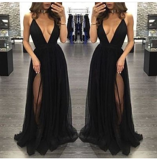 Dress Black Slit Dress Plunge V Neck Maxi Dress Black Dress