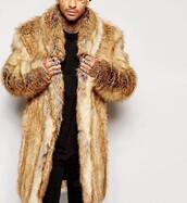 coat,faux fur,fur,menswear,brown,tan,faux fur coat