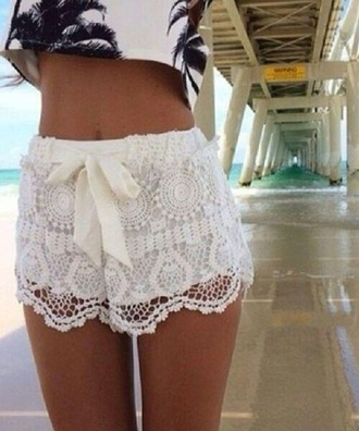 shorts lace ivory ribbon tie top shoes white white lace lace shorts crochet festival tassel