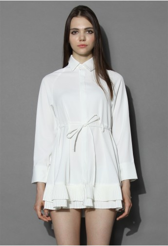 Pleated Ruffles Flare Shirt Dress in White - Retro, Indie and Unique Fashion