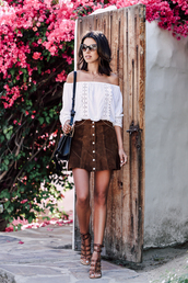 viva luxury,blogger,sunglasses,dress,shoes,blouse,jewels,off the shoulder,white blouse,black bag,suede skirt,button up skirt,brown shoes,black shoulder bag,eyelet top,white off shoulder top,buttoned skirt