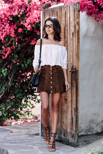 viva luxury blogger sunglasses dress shoes blouse jewels off the shoulder white blouse black bag suede skirt button up skirt brown shoes black shoulder bag eyelet top white off shoulder top buttoned skirt
