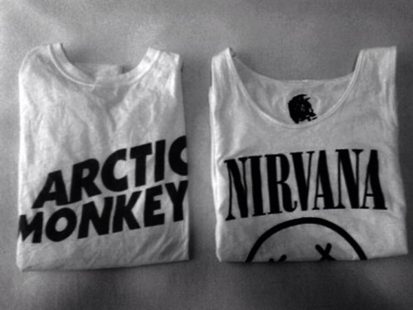 t-shirt nirvana arctic monkeys grunge band t-shirt weheartit blouse