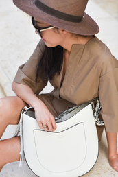 dress,brown,tumblr,mini dress,brown dress,three-quarter sleeves,bag,white bag,hat,sun hat,ring,jewelry