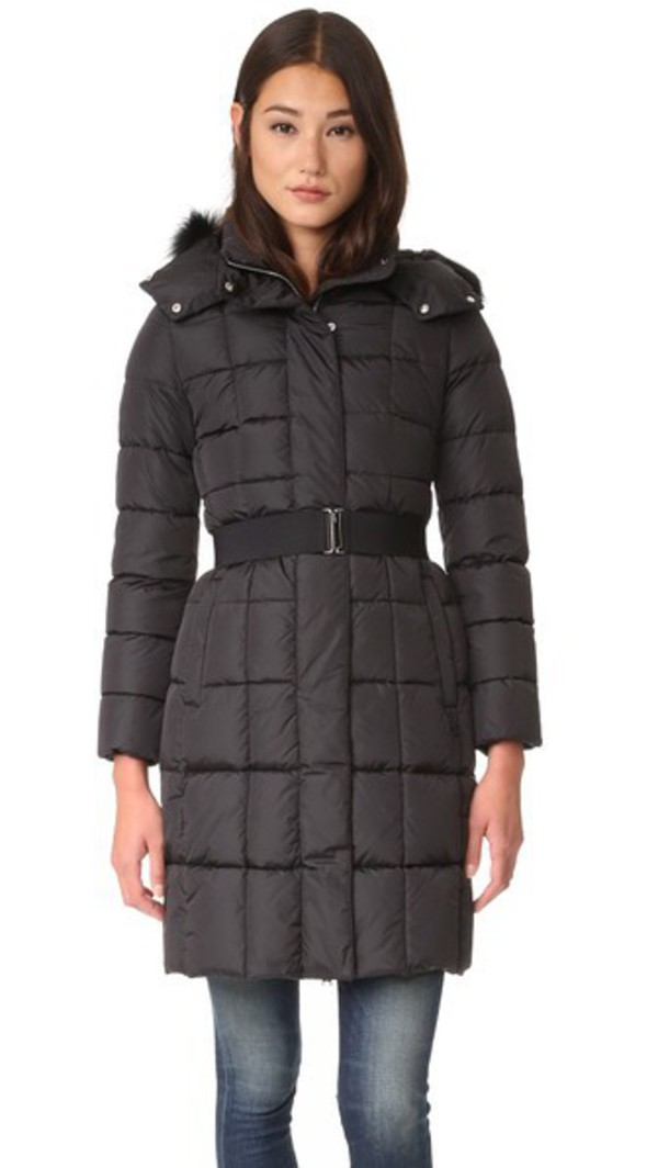 Add Down Belted Down Coat With Fur - Iron - Wheretoget