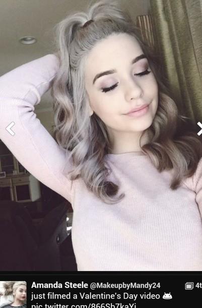 sweater blouse pastel pink