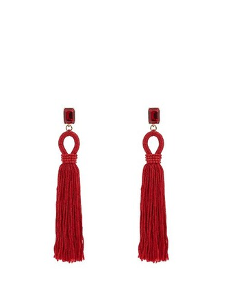long tassel embellished earrings silk red jewels