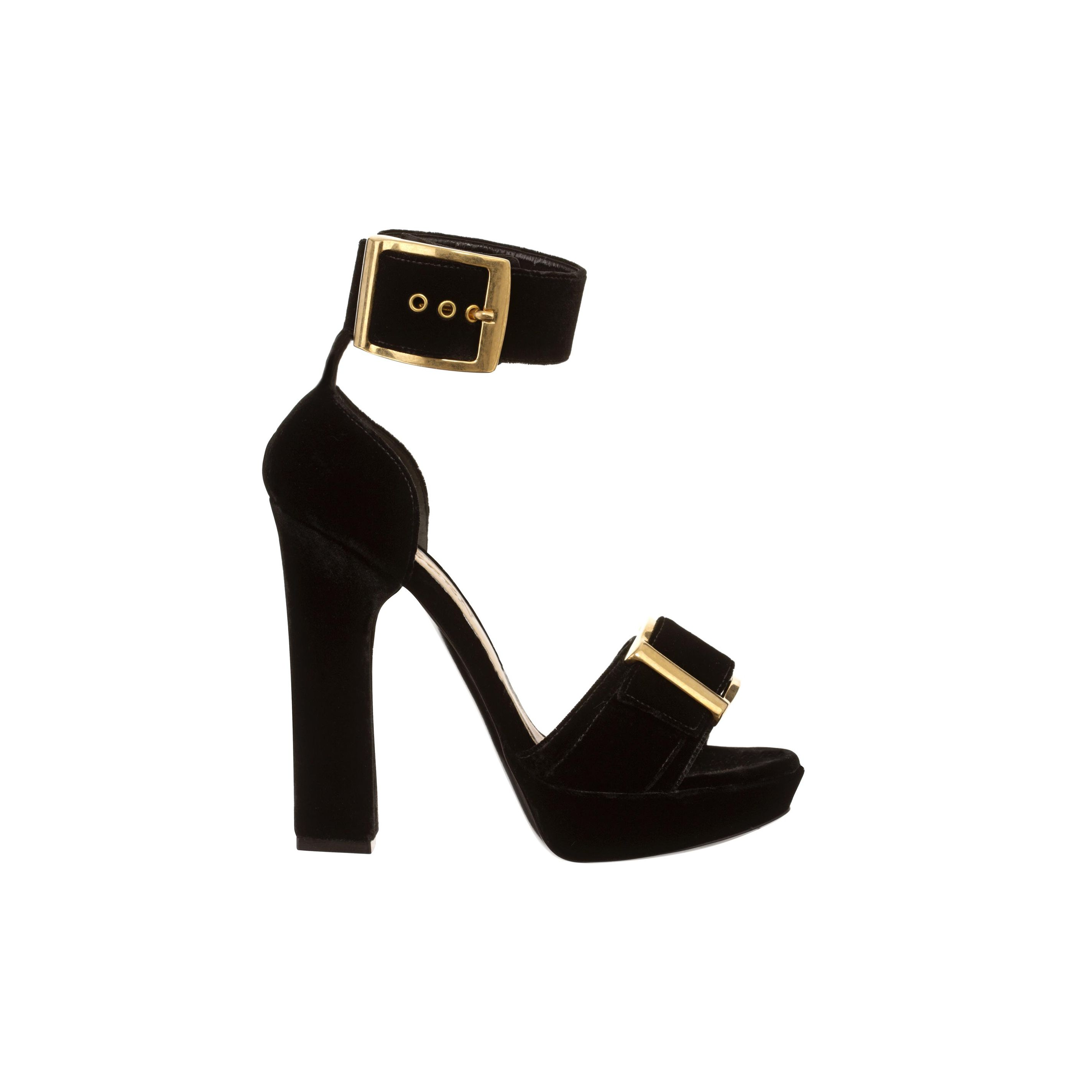 Sandales à plateau en velours style puritain alexander mcqueen
