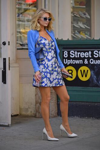dress mini dress pumps spring outfits paris hilton celebrity jacket floral floral dress