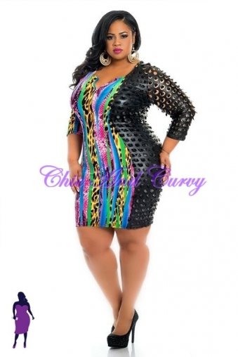 . new plus size . bodycon with laser cut sleeves zipper front and beautiful pink mixed prints dress 1x 2x 3x