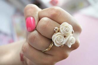 jewels rose white ring gold roses floral pink cream set ring set jewelry