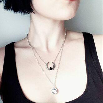 jewels shop dixi pearl necklace moon boho bohemian grunge goth